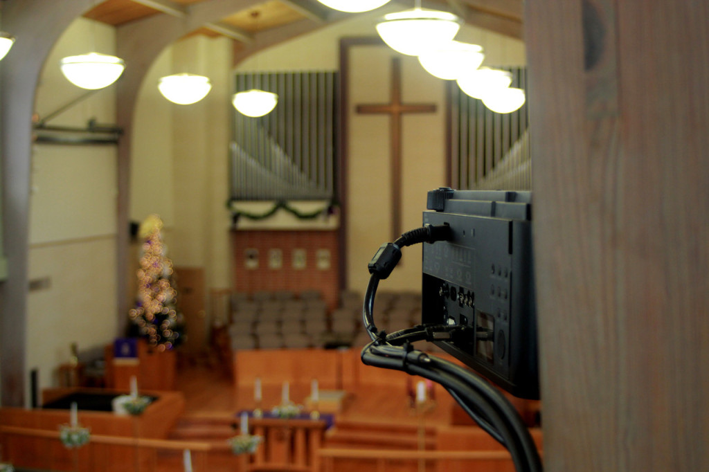 This professional photo of the Draper ScreenBoom, installed in the Camp Hill, Pennsylvania United Methodist Church, was commissioned after the dealer shared some of their photos of the installation.